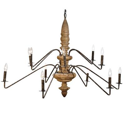 2-Tier Wood Torchier Chandelier
