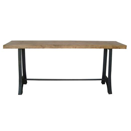 Wood Top Steel Base Console