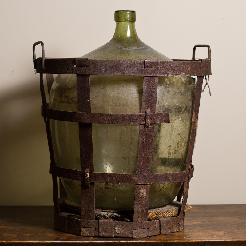 Bottle with Rusted Metal Crate