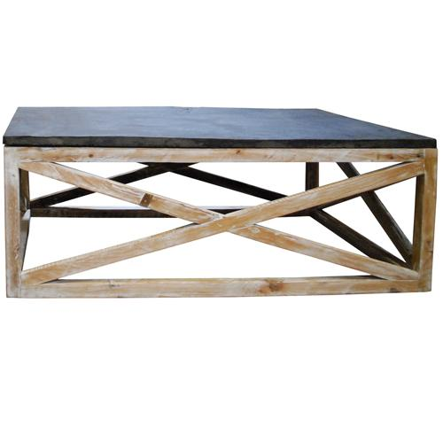 X Base Slate Top Coffee Table
