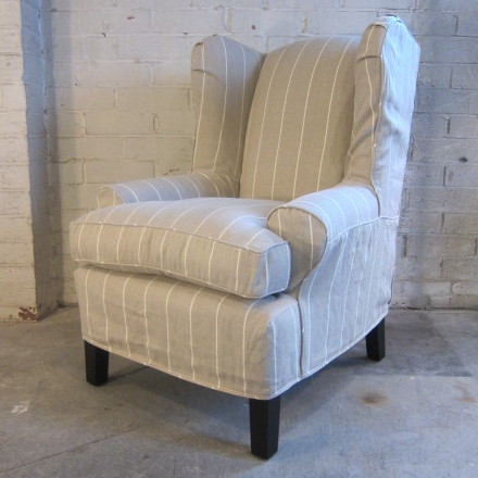 Linen Stripe Wing Chair