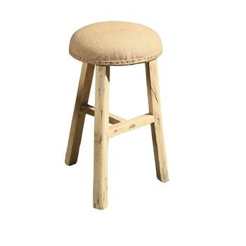 Old Elm Burlap Stool